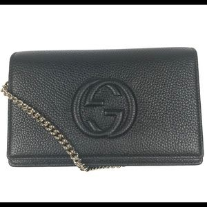 Gucci #598211 GG Black Wallet on Chain Crossbody